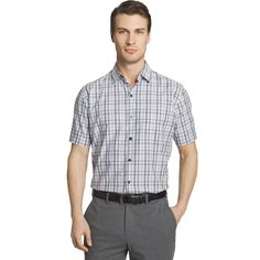 Men's Van Heusen Air Wovens Classic-Fit Poplin Performance Button-Down Shirt, Size: Medium, Grey Other