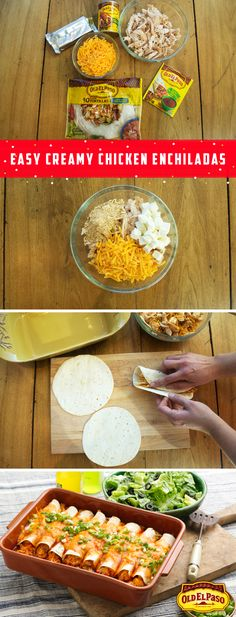 Craving Enchiladas for Cinco de Mayo this year? These Easy Creamy Chicken Enchiladas couldn't be easier to make at home! Mix shredded chicken, shredded cheddar, Old El Paso Fajita Seasoning Mix™, and (Mexican Chicken Enchiladas) Mexican Dishes, Mexican Food Recipes, New Recipes, Cooking Recipes, Favorite Recipes, Creamy Chicken Enchiladas, Rotisserie Chicken Enchiladas, Cream Cheese Enchiladas, Jai Faim