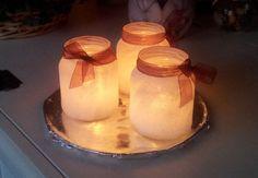 glazen potjes met lijm insmeren en door het zout rollen.Theelichtje erin.... Jingle Bells, Christmas Diy, Bbq, Candle Holders, December, Candles, Homemade, Party, Crafts