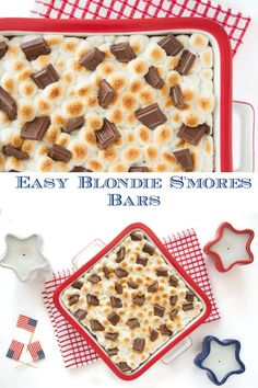 These delicious dessert bars are a fabulous combination of blondies and good old-fashioned s'mores! #smores #summerdesserts #bestblondies Summer Desserts, Healthy Desserts, Delicious Desserts, Dessert Recipes, Cafe Recipes, S'mores Bar, Brownie Bar, Cafe Food, Dessert Bars