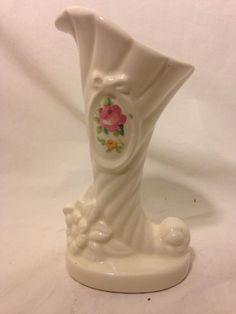 VTG Ceramic Flower Plant Planter Vase Cream Unmarked