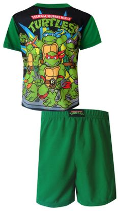 Teenage Mutant Ninja Turtle Gang Green Toddler Pajama Wow, he's gonna love these! These flame resistant short sleeve, short pan...