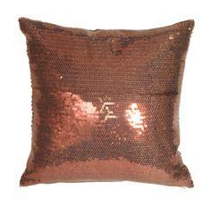 Metallic sequined pillow in Copper