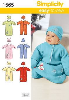 Fleece sewing project Simplicity 1565 Baby Bunting Romper and Hats by ucanmakethis