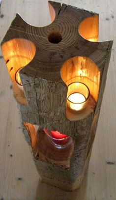 Wooden floor lamp for candles