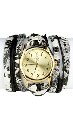 Printed Leather Wrap Watch - White/Black  by Sara Designs $ 93.00
