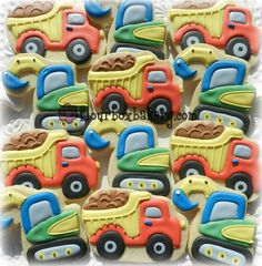 Construction truck cookies by Flour Box Bakery Construction Cookies, Construction Party, Fish Cookies, Cute Cookies, Fancy Cookies, No Bake Sugar Cookies, Royal Icing Cookies, Sports Themed Cakes, Cookie Crush
