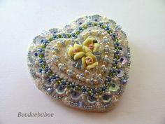 blue beaded heart pin