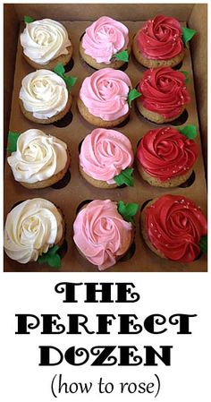 Variety Rose Cupcakes | Little Delights -- How to make a frosting rose for cake or cupcake