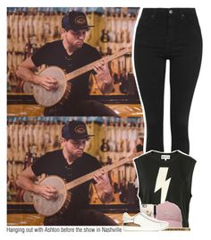 """""""Hanging out with Ashton before the show in Nashville"""" by sixsensestyles ❤ liked on Polyvore featuring Topshop, Wildfox, adidas Golf, NOVICA, Casetify and Burberry"""
