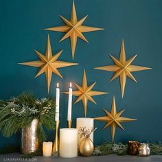 These 3D paper stars make beautiful wall décor, and they're super easy to craft! Check out our book, Cutting Machine Crafts, to make your own version.