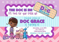 Doc McStuffins Birthday Party Invitation by lifeonpurpose on Etsy, $5.00