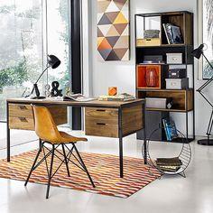 Solid walnut desk W Office Interior Design, Office Interiors, Minimalist Desk, Deco Retro, Retro Vintage, Desk Inspiration, Orange Interior, Home Office Setup, Style Deco