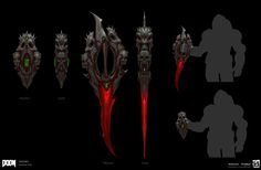 Concepts for the Crucible All Images © id Software, LLC, a Zenimax Media Company. Doom 2016, Id Software, Fantasy Sword, Wolfenstein, Dead Space, Concept Weapons, Sci Fi Horror, Visual Development, Emerson