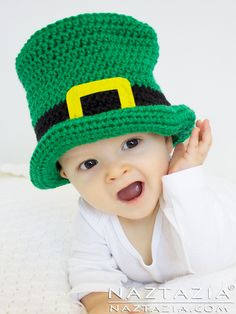 DIY Free Pattern and YouTube Video Tutorial Irish Crochet Baby Top Hat for St Patricks Day Leprechaun or Thanksgiving Pilgrim or Vintage Black Top Hat by Donna Wolfe from Naztazia