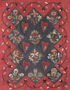 Quilt Pattern -- Primitive Wool Applique Quilt from Primitive Gatherings x… Wool Applique Quilts, Applique Quilt Patterns, Wool Quilts, Wool Embroidery, Appliqué Quilts, Hand Applique, Wool Rugs, Primitive Quilts, Primitive Folk Art