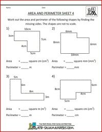 Area of shapes worksheet year 4