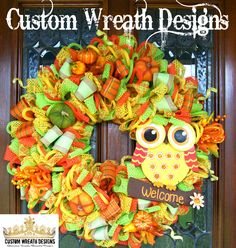 A personal favorite from my Etsy shop https://www.etsy.com/listing/467887799/welcome-fall-owl-wreath-ready-to-ship