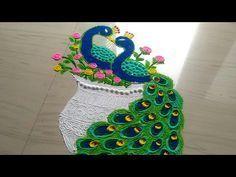 How to make beautiful couple peacock rangoli designs/peacock rangoli design easy by jyoti Rangoli Designs Peacock, Rangoli Ideas, Rangoli Designs Diwali, Diwali Rangoli, Beautiful Rangoli Designs, Rangoli Photos, Traditional Rangoli, New Year Rangoli, Festival Rangoli