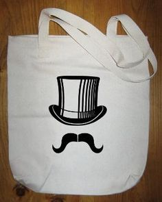 Mustache Bag Moustache Bag Top Hat Mustache Tote by redbrickwall