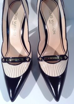 "Louis Vuitton Ingrid Pump Plain Baby Goat Brown Striped 4"" High Heel 7.5 Narrow  #LouisVuitton #PumpsClassics"