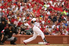 Carlos Beltran hits a 3-run homer in the third inning of Game 1 of the National League Division Series between the St. Louis Cardinals and the Pittsburgh Pirates on Thursday, Oct. 3, 2013, at Busch Stadium in St. Louis. Photo by Huy Mach, hmach@post-dispatch.com