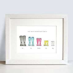 Beautiful and charming watercolour Wellington boot family print. Represent your family and the pets with this charming and stylish print. With over 100 wellys and shoes to choose from to match the personalities and preferences of your family Personalised Family Print, Wellies Boots, Will Smith, Prints, Fun, Print Ideas, Photo Ideas, Frames, Shots Ideas