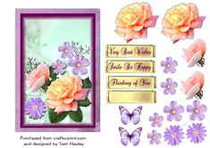 This is an awesome 3D decoupage card that is so easy to make, and can be used for many reasons and looks awesome when made up.  Has 3 labels, Very Best Wishes, Smile Be Happy and thinking of you. There is also a blank so you can use your own, it also has optional butterflies for you.