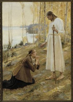 "sherripage: "" Albert Edelfelt , Kristus ja Mataleena, 1890 Edelfelt has placed Christ in a Finnish landscape, in a grove of birches beside a lake. He wears bast shoes. The model for Christ was Finnish painter Magnus Enckell, and the model for Mary. Christian Images, Christian Art, Catholic Art, Religious Art, Arte Lds, Maria Magdalena, Noli Me Tangere, Marie Madeleine, Google Art Project"