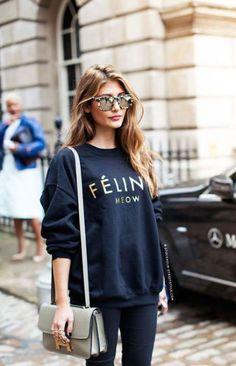 Fashion Look Street Style Sweatshirt Printed Celine