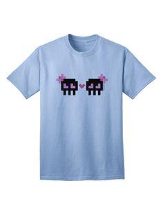 TooLoud 8-Bit Skull Love - Girl and Girl Adult T-Shirt
