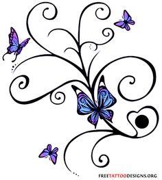 Swirly butterflies tattoo