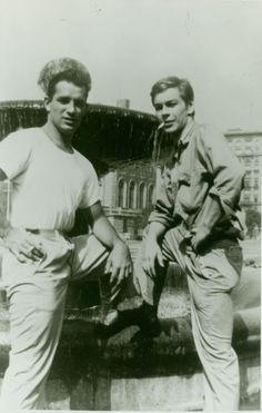 Jack Kerouac and Lucien Carr probably the same month Allen met Jack for the first time,  late Spring 1944,  Columbia College Campus. c. Allen Ginsberg Estate.