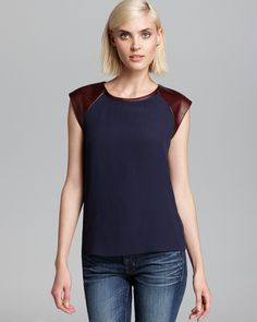 DIANE von FURSTENBERG Tee - Valentine Color Block Leather Sleeve | Bloomingdale's