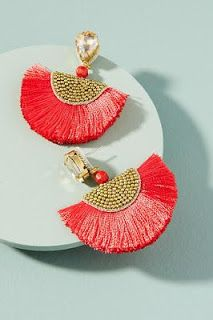 Add a statement to your look with earrings from Anthropologie. Discover our collection of unique hoop, drop, chandelier, cluster and post earrings for women. Silk Thread Earrings, Thread Jewellery, Tassel Jewelry, Red Earrings, Fabric Jewelry, Beaded Earrings, Diy Jewelry, Handmade Jewelry, Jewelry Design