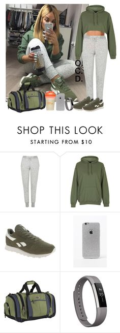 """""""Khaki Returns."""" by oreocaker ❤ liked on Polyvore featuring Topshop, Reebok, LA: Hearts, Arbonne, CalPak and Fitbit"""
