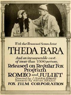 Romeo and Juliet (1916) Stars: Theda Bara, Harry Hilliard, Glen White ~ Director: J. Gordon Edwards