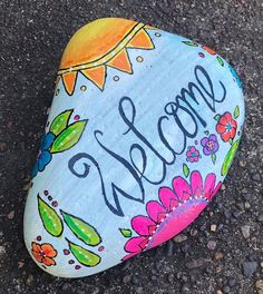 Items similar to Sunshiny Summer Seasonal Welcome Stone --Painted Rock-- Garden Stone, Front Door, Home Decor & Gift on Etsy Acrylic Painting Trees, Easy Flower Painting, Rock Painting Ideas Easy, Dot Art Painting, Rock Painting Designs, Pebble Painting, Pebble Art, Stone Painting, Diy Painting