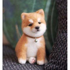 Cute Needle felted wool animals dog (Via @grey_i_scream)