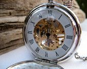 Pocket Watch Engraved Silver Roman Mechanical - Double Cover - Groomsmen, Wedding, Men, Victorian Steampunk Era - Item MPW66