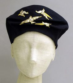 Ensemble (image 6 - beret) | House of Poiret | French | 1925 |  silk, felt, metallic thread | Metropolitan Museum of Art | Accession Number: 1988.226.1a, b