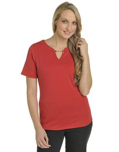 ALLISON DALEY Knit Short Sleeve Notch Crew with Buckle