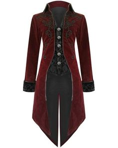 Details about Fashion Mens Tailcoat Red Velvet Goth Steampunk Aristocrat Regency Jacket - roupas - Mens, Women's Outfits Costume Steampunk, Mode Steampunk, Steampunk Clothing, Gothic Steampunk, Steampunk Jacket, Gothic Clothing, Dance Clothing, Victorian Mens Clothing, Steampunk Necklace