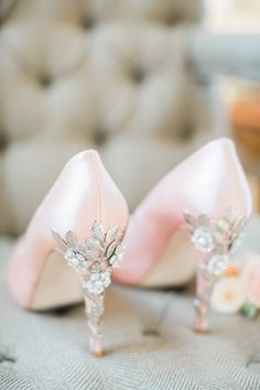 Blush satin shoes with diamante flower heel detail. Images by Katy Melling Photography
