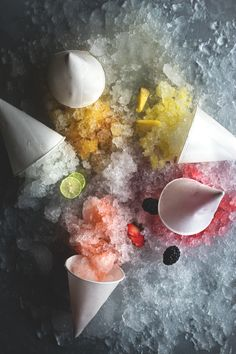 Cocktail Snow Cones / strawberry pisco, bramble, gimlet, tequila mango, + pina colada / adult summering