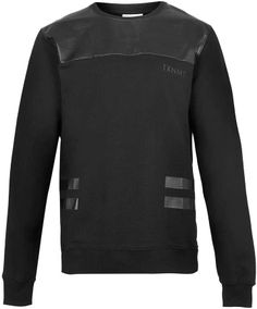 Topman Taxonomy Black Faux Leather Sweatshirt on shopstyle.com.au