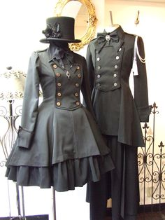 Victorian inspired outfits with military design. Steampunk Fashion, Victorian Fashion, Vintage Fashion, Victorian Outfits, Gothic Lolita Fashion, Steampunk Vetements, Vintage Dresses, Nice Dresses, Mode Lolita
