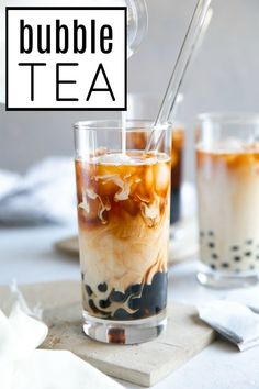 How to Make Bubble Tea (Bubble Tea Recipe) - The Forked SpoonYou can find Bubble tea and more on our website.How to Make Bubble Tea (Bubble Tea Recipe) - The Forked Spoon Boba Tea Recipe, Yummy Drinks, Yummy Food, Milk Tea Recipes, How To Make Bubbles, Bubble Milk Tea, Tapioca Bubble Tea, Bubble Drink, Tapioca Pearls