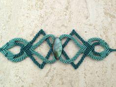 Labradorite gem stone bule turquoise macrame by ARTofCecilia