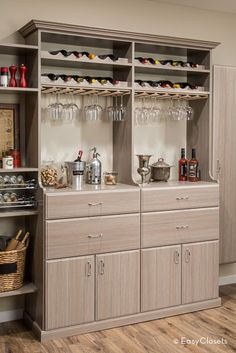 The focal point of your new pantry: a beverage center! A hutch provides deep storage areas and traditional furniture styling, while the wine and stemware racks display bottles and precious stemware.